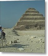 An Egyptian Man And Donkey At The Step Metal Print