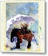 An Elephant Carrying Cargo Metal Print