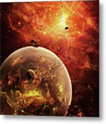An Eye-shaped Nebula And Ring Metal Print