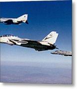 An F-14 Tomcat And Two F-4 Phantom IIs Metal Print