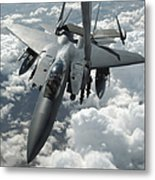 An F-15 E Strike Eagle Receives Fuel Metal Print by Stocktrek Images