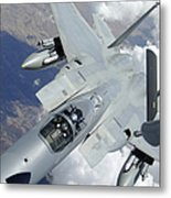 An F-15 Eagle Pulls Away From A Kc-135 Metal Print by Stocktrek Images