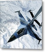 An F-16 Aggressor Sits In Contact Metal Print