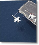 An Fa-18 Hornet Flys Over Aircraft Metal Print