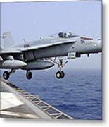 An Fa-18c Hornet Catapults Metal Print