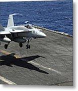 An Fa-18c Hornet Lands Aboard Metal Print