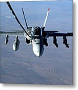 An Fa-18c Hornet Receives Fuel Metal Print by Stocktrek Images