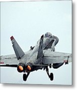 An Fa-18c Hornet Taking Off Metal Print