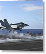 An Fa-18e Super Hornet Catapults Metal Print