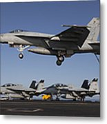 An Fa-18e Super Hornet Comes In For An Metal Print