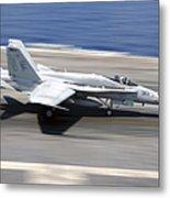 An Fa-18e Super Hornet Lands Aboard Uss Metal Print