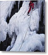 An Ice Climber On Habeggers Falls Metal Print