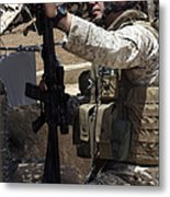 An Infantryman Talks To His Marines Metal Print