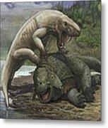 An Inostrancevia Attacks A Scutosaurus Metal Print
