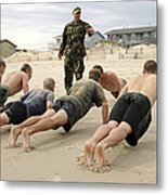An Instructor Observes Recruits Metal Print
