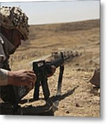 An Iraqi Army Soldier Prepares To Fire Metal Print