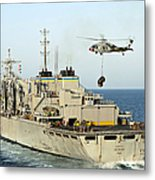 An Mh-60s Knighthawk Lifts Cargo Metal Print