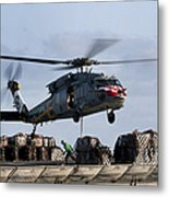 An Mh-60s Sea Hawk Lifts Cargo Metal Print
