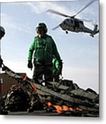 An Mh-60s Seahawk Passes Over Two Metal Print