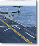 An Mv-22 Osprey Lands Aboard Metal Print