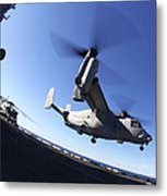 An Mv-22 Osprey Lands Aboard The Uss Metal Print