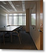 An Office Interior. Door Open To Empty Metal Print by Marlene Ford