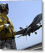 An Officer Observes An Fa-18f Super Metal Print
