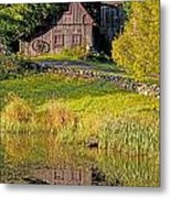 An Old Barn Reflected In The Pond Water Metal Print
