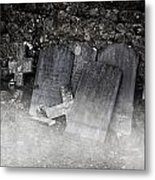 An Old Cemetery With Grave Stones And Fog Metal Print