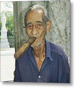 An Old Man Smokes An Over-sized Cigar Metal Print