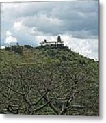 An Old Temple Building On Top Of A Hill With A Lot Of Clouds In The Sky Metal Print