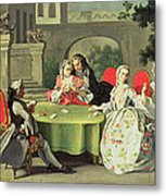 An Ornamental Garden With Elegant Figures Seated Around A Card Table Metal Print