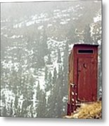 An Outhouse Perches On A Hillside Metal Print by Rex A. Stucky