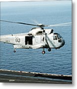 An Sh-3h Sea King Helicopter Prepares Metal Print