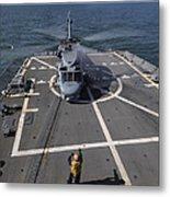 An Sh-60b Sea Hawk Lands On The Flight Metal Print