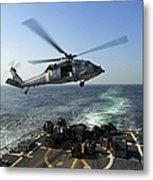 An Sh-60r Sea Hawk Delivers Pallets Metal Print