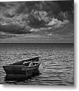 Anchored Row Boat Looking Out To Sea Metal Print