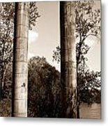Ancient Columns By The River Metal Print