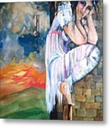 Angel And The Mushroom Cloud Metal Print