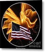 Angel Fireworks And American Flag Metal Print by Rose Santuci-Sofranko