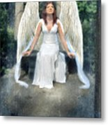 Angel On Stone Bench Looking Up Into The Light Metal Print