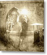 Angel Spirit Sepia Metal Print