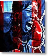 Anger In Red And Blue Metal Print