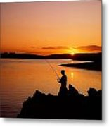 Angler At Sunset, Roaring Water Bay, Co Metal Print by The Irish Image Collection