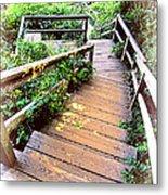 Angular Wooden Stairs Metal Print