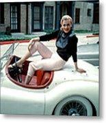 Anita Ekberg, On Her Jaguar, Late 1950s Metal Print by Everett