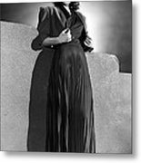 Ann Sheridan Wearing Pleated Evening Metal Print by Everett