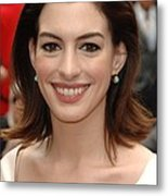 Anne Hathaway At The Press Conference Metal Print