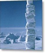 Antarctic Snowman Metal Print