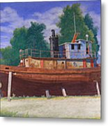 Antiquated Hudson River Tug Metal Print by Glen Heberling